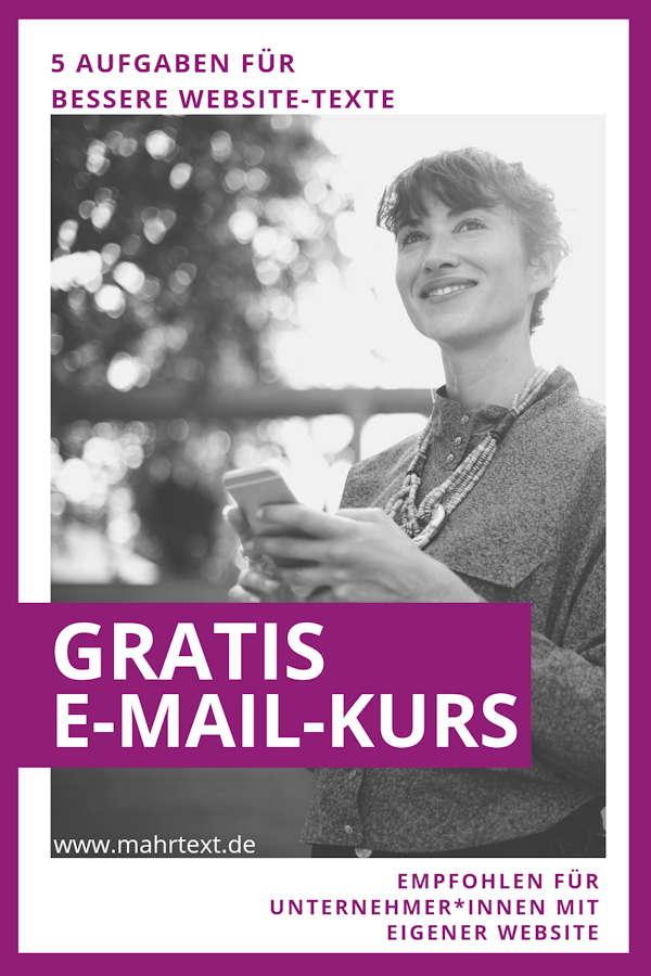 Link zum Gratis-E-Mailkurs für bessere Websitetexte