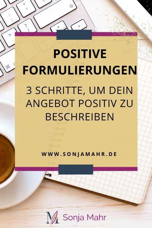 Pin: 3 Schritte, um dein Angebot positiv zu beschreiben