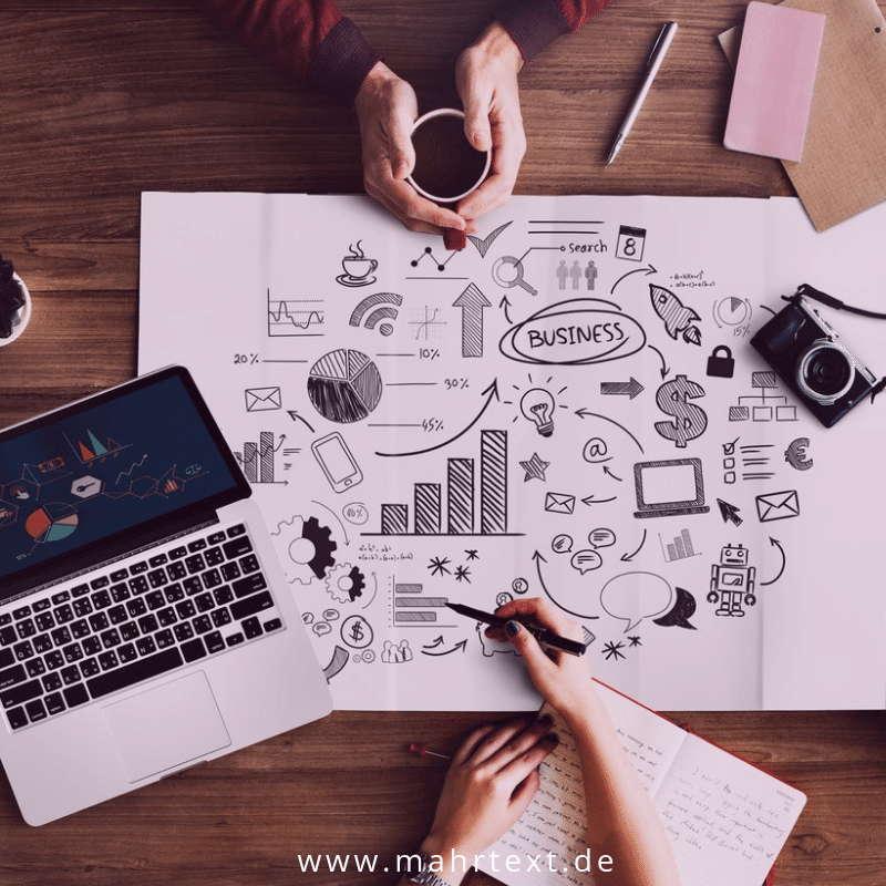 Erste Website Plan und Notebook
