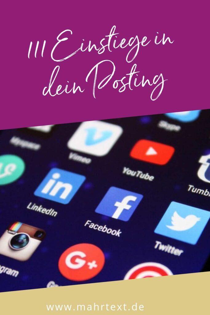 Grafik für Pinterest 111 Einstiege in Social Media Beiträge