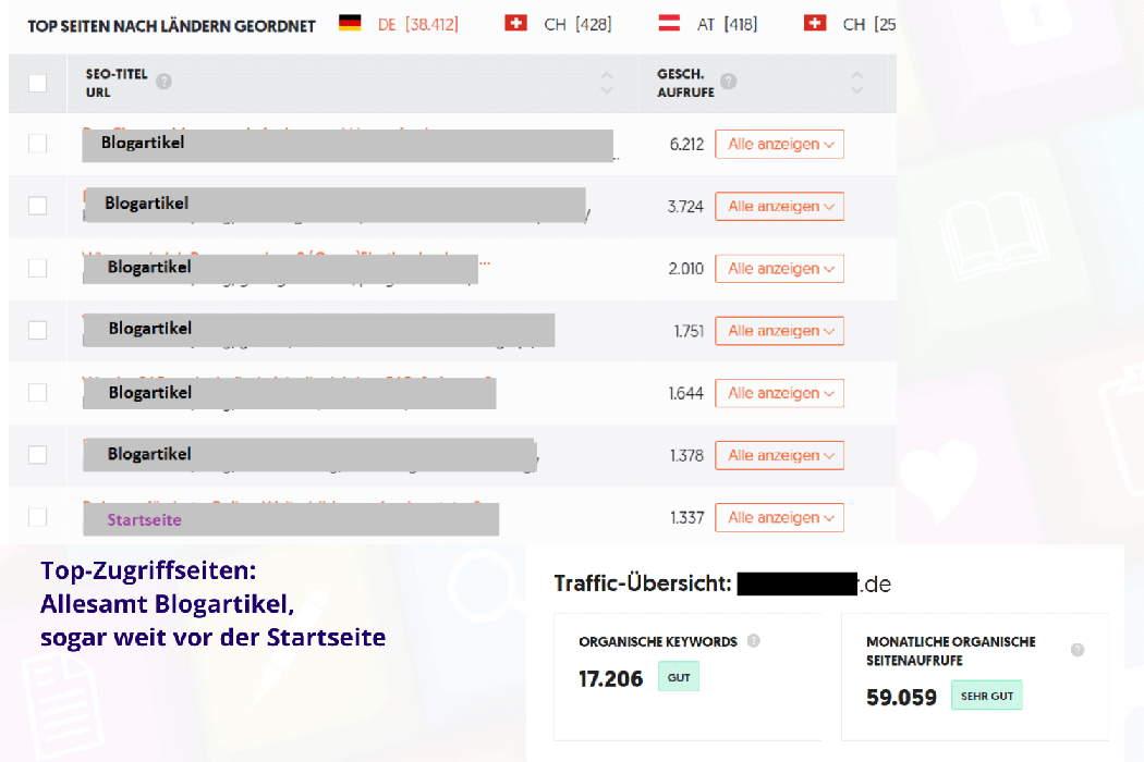Lohnt sich Bloggen Zugriffszahlen Übersicht